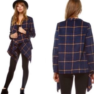 Jackets & Coats - Navy Plaid Draped Open Front Jacket